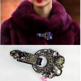 Wholesale Brooch Duckbill Buckle Rhinestone Fur Clip Buttons Hook Eye Closure Clasp Mink Coat Collar Clothing Accessories Decorativ Inlaid Metal