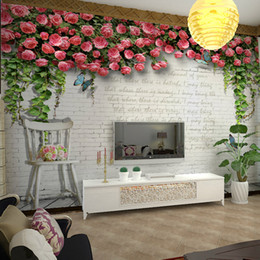 Wholesale The modern D environmental protection wall stickers Zhuanhong white rose English non woven TV background for the living room sofa backgrou