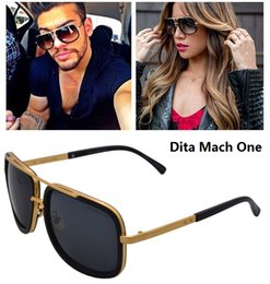 Wholesale DITA sunglasses dita Mach One men brand designer square shape retro vintage summer style men sunglasses shiny K gold with original case
