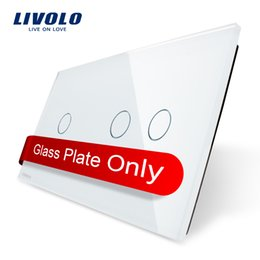 Wholesale Livolo Luxury White Pearl Crystal Glass mm mm Glass Only EU standard Double Glass Panel VL C7 C1 C2