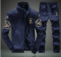 Wholesale Maserati Men s sports suit Tracksuits fashion Slim Baseball uniform Men s sweater Set Autumn And Winter Jacket Coat Apparel Men s playsuits