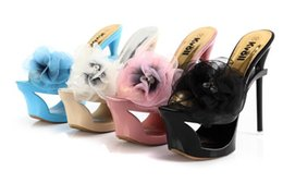 Wholesale Satin Black Peep Toe Platforms - Kvoll authentic sexy fine with hollow out waterproof platform for women's shoes Ultra cool with satin slippers chiffon flowers