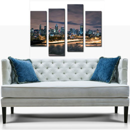 Wholesale 4 Picture Combination YEHO Art Gallery Painting Montreal Ablaze With Lights In Nice Night Scene Print On Canvas City Pictures