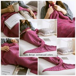 Wholesale Christmas Gift Crochet cm Adult Mermaid Tail Blanket Handmade Knitted Warm Air Conditioning Beautiful Sofa Blanket Baby sleeping bag