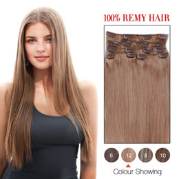 Hot Sale Human Hair Wefts Indian Silky Straight Clip In Hair Extensions #12 Color 7Pcs Set Remi Hair