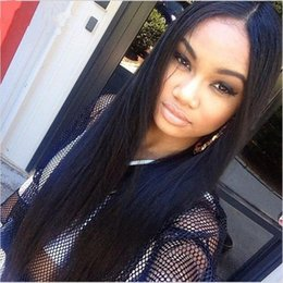 Silky Straight Full Lace Glueless Human Hair Wigs With Baby Hair 100% Virgin Brazilian Lace Front Long Wigs Middle Part Bleached Knots