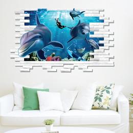 Wholesale Finding Nemo Under Sea Shark Fish D Cartoon Waterproof Vinyl Wall Decals Stickers Bathroom Film For Child rooms Kids Gift