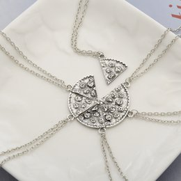 Wholesale 6PCS SET Antique Silver Pizza Necklace Clavicle Chain Best Friend BFF Friendship Necklace Stamped Food Jewelry WA0323