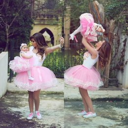 Wholesale 2016 Lovely Mother and Daughter Dresses Scoop Short Ball Gown Prom Baby Party Dress Family Matching Outfits Clothing Puffy Lace Train