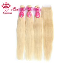 Queen Hair Products Bleached #613 Blonde 4pcs lot Brazilian Virgin Straight Hair 5A Grade Human Hair Lace Closure with Bundles