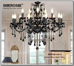 Wholesale Large Art Work - Vintage Black 15 Arms Crystal Chandelier Light Fixture Large American Wrought Iron Chandelier Hanging Light MD2520 L15