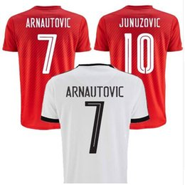 Wholesale 16 Austria home red soccer jerseys away white designer short sleeve shirt top thai quality soccer uniform football suit