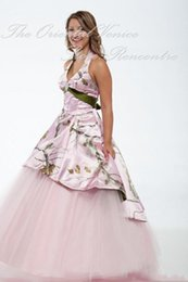 Wholesale 2016 Two In One Camo Wedding Dresses Sexy Halter Backless Bridal Gowns With Tulle Train Robe de marriage Plus Size Wedding Gowns Dress