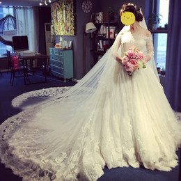 2019 Fall Winter Off The Shoulder Wedding Dresses 3 4 Long Sleeve Chapel Train Church Bridal Gown Corset Lace Up Back For Wedding Dresses