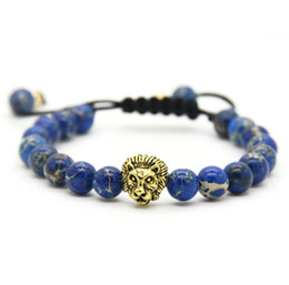 Wholesale Hot Sale Retail Men s Bracelets mm Stone Beads Gold Silver Plated Lion Head Braiding Bracelets