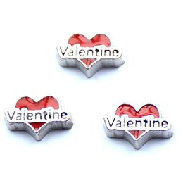 Wholesale valentine in red heart charms floating charms for living locket