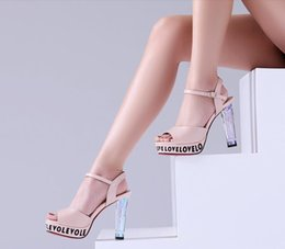 Wholesale Cool Pink High Heel Shoes - High heel sandals female Xia thick with 2016 fish mouth cool shoes leather waterproof shoes with a word buckle high heels