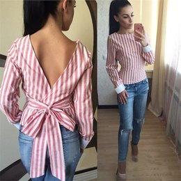 Wholesale 2016 New Woman Blouses Autumn Clothing Long Sleeve Stripe Backless Slim Office Blouse Casual Lady blouse blusas y camisas mujer