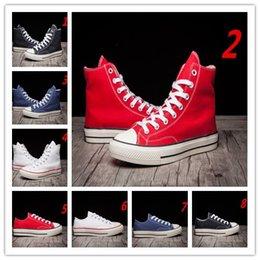 Altos tops hombres 45 en venta-calzados informales de la alta calidad de lona clásicos top top del alto de la zapatilla de deporte de la lona tamaño de los zapatos de los hombres de las mujeres de 35-45 euros