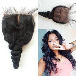 Silk Base Closure Unprocessed Chinese Virgin Hair Human Hair Closure Loose Wave Silk Base Top Closures G-EASY