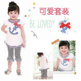 2016 Brands summer baby short sleeves T-shirt children t shirts + Striped trousers Clothing Girl Set children clothing