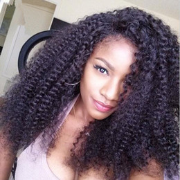 Brazilian Human Hair #1B Kinky Curly Glueless Full Lace Wig With Baby Hair Afro Kinky Curly Lace Front Wigs For Black Woman