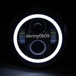 Wholesale TURBO Pair Eagle Lights JK Jeep Wrangler Inch Round LED Headlight White Halo For Harley Davidsion Motorcycle LJ TJ Daymaker Angel Eye