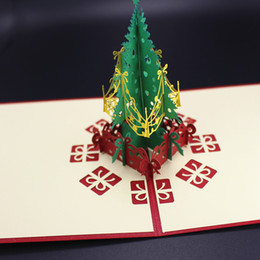 Wholesale Green Christmas tree decorating cards christmas invitations party supplies christmas children gift cards