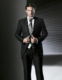 Wholesale-Handsome Black Mens Suits Peaked Lapel Wedding Suits For Men Tuxedos Men Wedding Suits One Button (jacket+pants+vest)
