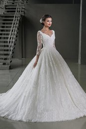 Wholesale Backless Elegant Alibaba White Long Sleeve Ball Gown Lace wedding Dresses Bridal Gown vestidos de novia With V Neck