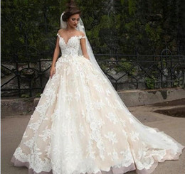 2019 New Lace Wedding Dresses With A Line Sheer Neck Cap Sleeve Scoop Sheer Neck Appliqued Tulle Sweep Train Bridal Gown