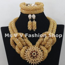 2019 statement charms luxury gold african jewelry indian jewelry beaded bracelet necklace earring 18k gold jewelry fit wedding party gift