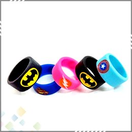 Wholesale Vape Band Silicone Rings with Superman Batman Flash Captain America Logo Colorful Rubber Rings fit RDA RTA Atomizer Mods DHL Free