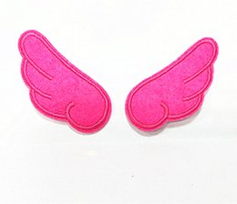 10 Pairs Cartoon Pink Wings (each 6 cm x 2.5 cm) Kids Patch Embroidered Applique Iron on Patch (ALB)