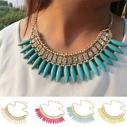Wholesale Crystal Pendant Chain Choker Necklace Bohemia Turquoise Tassel Teeth Spike Fashion Short Necklace For Weman DHL