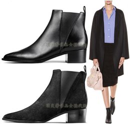 Wholesale Original Quality Acne Studios Jensen Leather And Suede Booties Chelsea Pointed Toe Martin Boots Contrasting Elastic Shoes Acne Fashion Boots