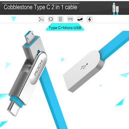 Wholesale ROCK m V A CobbleStone Series in Charge Sync Flat TYPE C Micro USB Cable Data Line for Samsung Android for Xiaomi Mi5
