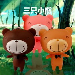 new cute cartoon Three little teddy bear Luminous key chain Bag accessories couple keychains rings toys soft plastic car key chain pendant
