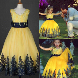 2019 Said Mhamad Girl Toddler Pageant Dresses Yellow Ball Gowns With Black Sash Jewel Neck With Appliques Wedding Party Gowns For Litter Gir