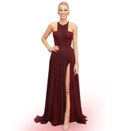 2016 Oscar Blake Lively Celebrity Red Carpet Runway Dresses Evening Wear Halter Neck Pleats Split Draped Chiffon Women Formal Prom Gowns