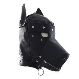 HOT TIME Erotic Sex Dog BDSM Bondage Leather Hood for Adult Play Games Full Masks Fetish Face Blindfold for Gay Couple Games