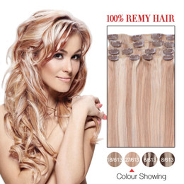 Hot Sale Human Hair Weft Indian Silky Straight Clip In Hair Extensions #27 613 7Pcs Set Real Hair