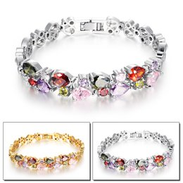Classical 18K Gold Plated  Platinum Plated Multi-Gemstone and Zirconia Tennis Bracelet Gold Heart Bracelets for Women Ladies, Silver Gold