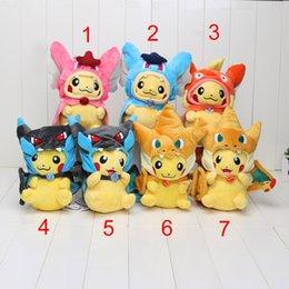 Compra Online Mega tv-10inch 25cm Pikachu empuje Centro megatokyo Pikazard Charizard Magikarp juguetes de peluche relleno muñeca 7 de estilo puede elegir