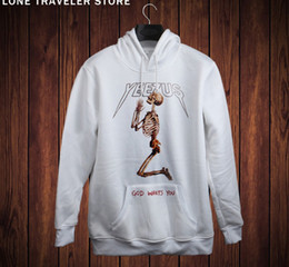 Wholesale hip hop yeezus human skulls hoodies men hoodies kanye west sweatshirt d Add Cloth with soft nap sportswear men pullover