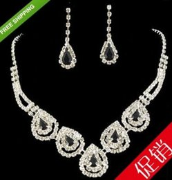 white color cystal wedding bride lady's set necklace earings thytryh