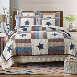 """Wholesale Solid Color Quilted Bedding King - 3pcs+250X230""""100%Cotton Bedspread Luxury Comforter Bedding set Queen Size Quilted Bedcover,Pillowcase*2"""