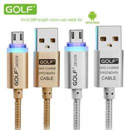 2017 cargos cables iphone 1m / 3ft AUX original Cable de micro usb de golf con luz LED Cable de nylon de metal 2.1A carga rápida para Samsung HTC LG Smartphone barato cargos cables iphone