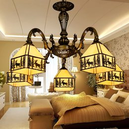 Wholesale Tiffany ligths chandelier European fawn pendant lamps antique inspired dining room lights hand made lampshade living room lighting