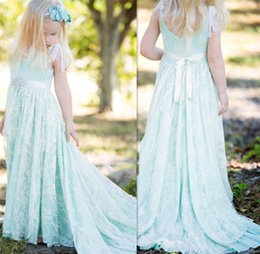 Pageant Dresses 2016 Wedding Party Formal Flower Girl Dresses Girl Lace Gown Custom Sky Blue Embroidery Princess Dresses Sleeveless Lace